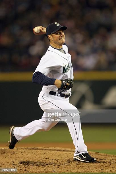 Erik Bedard of the Seattle Mariners pitches against the Texas Rangers on March 31 2008 at Safeco Field in Seattle Washington