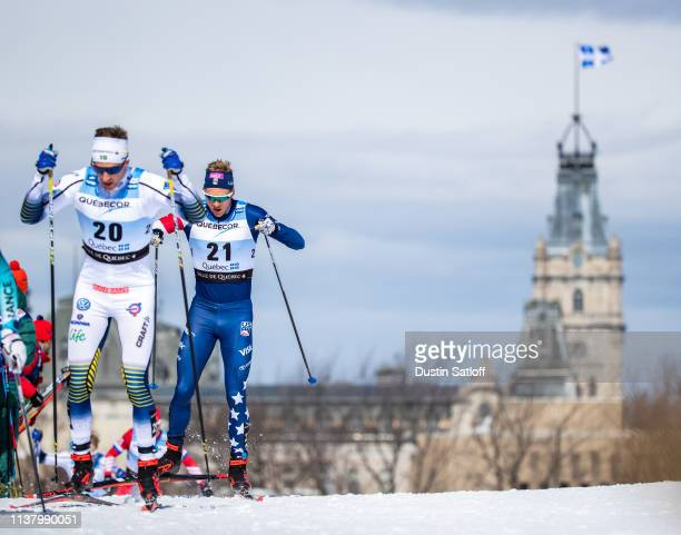 Erik Bjornsen of the United States competes in the Men's 15km freestyle pursuit during the FIS Cross Country Ski World Cup Final on March 24, 2019 in...