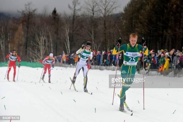 Erik Bjornsen of the University of Alaska Anchorage leads Vegard Kjoelhamar of the University of Colorado in the final sprint during the men's 20km...