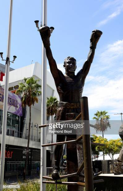 Erik Blome's statue of former boxer Oscar De La Hoya stands in Star Plaza at Staples Center home of the Los Angeles Lakers Los Angeles Clippers and...