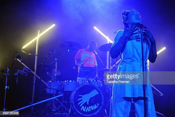 Erik Bodin and Yukimi Nagano of Little Dragon perform on stage at The Corn Exchange on November 17 2014 in Brighton United Kingdom