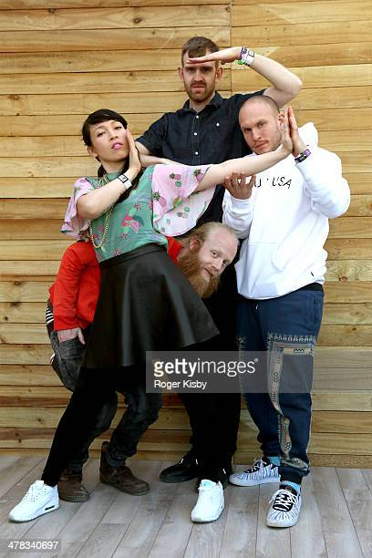 Erik Bodin Yukimi Nagano Fredrik Kallgren and Hakan Wirenstrand of Little Dragon pose for a portrait backstage at The Fader Fort presented by...