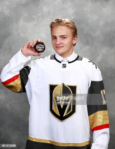 Erik Brannstrom 15th overall pick of the Vegas Golden Knights poses for a portrait during Round One of the 2017 NHL Draft at United Center on June 23...