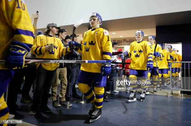 Erik Brannstrom of Sweden versus Finland at the IIHF World Junior Championships at the SaveonFoods Memorial Centre on December 26 2018 in Victoria...