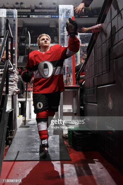 Erik Brannstrom of the Ottawa Senators leaves the ice after warmup prior to making his NHL debut in a game against the St Louis Blues at Canadian...