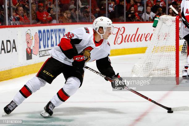 Erik Brannstrom of the Ottawa Senators skates against the Calgary Flames during an NHL game on March 21 2019 at the Scotiabank Saddledome in Calgary...