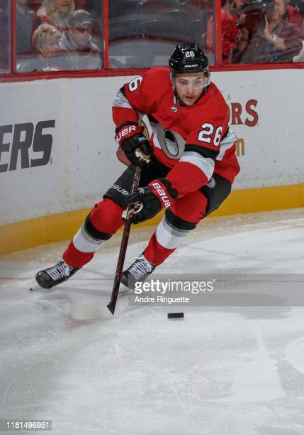 Erik Brannstrom of the Ottawa Senators skates against the Minnesota Wild at Canadian Tire Centre on October 14 2019 in Ottawa Ontario Canada