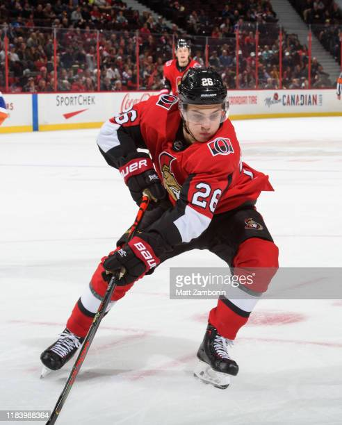 Erik Brannstrom of the Ottawa Senators skates against the New York Islanders at Canadian Tire Centre on October 25 2019 in Ottawa Ontario Canada