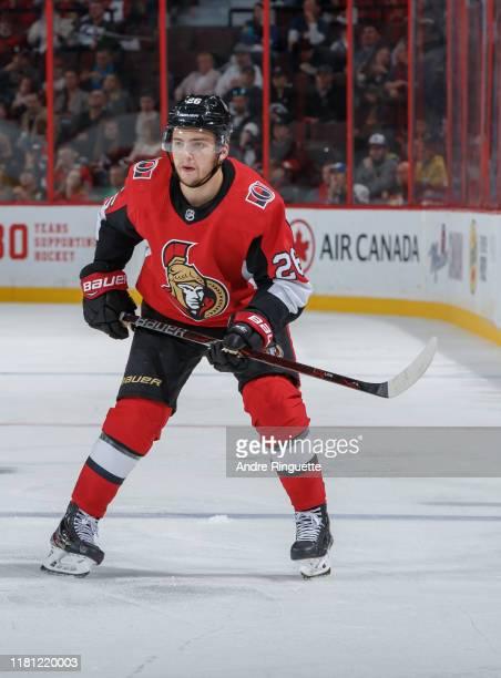 Erik Brannstrom of the Ottawa Senators skates against the Tampa Bay Lightning at Canadian Tire Centre on October 12 2019 in Ottawa Ontario Canada