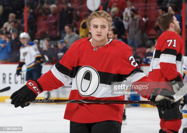 Erik Brannstrom of the Ottawa Senators warms up prior to a game against the St Louis Blues at Canadian Tire Centre on March 14 2019 in Ottawa Ontario...