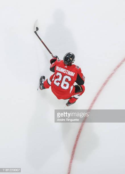Erik Brannstrom of the Ottawa Senators warms up prior to a game against the Tampa Bay Lightning at Canadian Tire Centre on October 12 2019 in Ottawa...