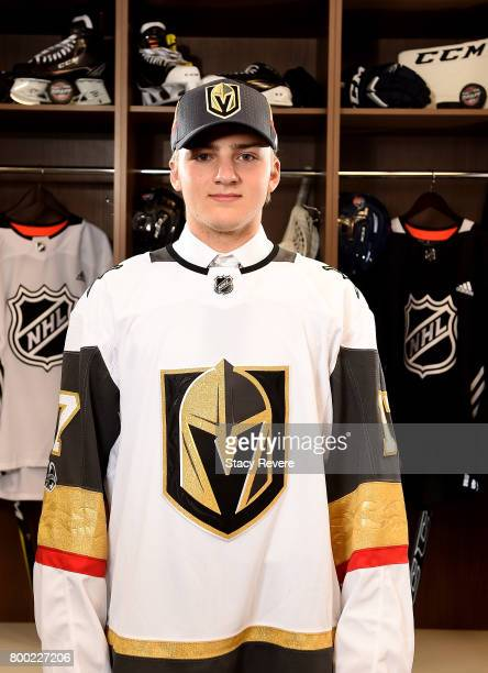 Erik Brannstrom poses for a portrait after being selected 15th overall by the Vegas Golden Knights during the 2017 NHL Draft at the United Center on...