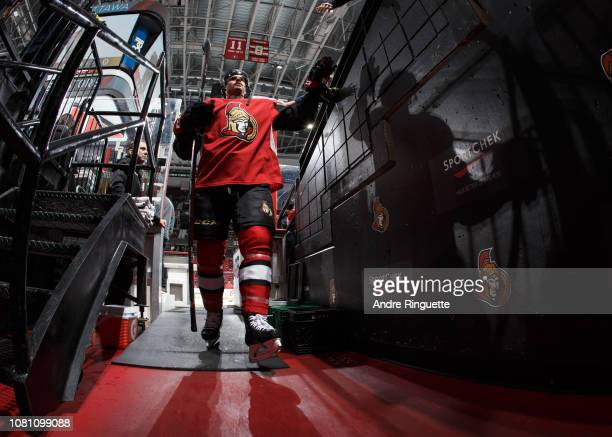 Erik Burgdoerfer of the Ottawa Senators leaves the ice after warmup prior to a game against the Boston Bruins at Canadian Tire Centre on December 9...