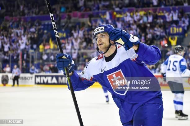 Erik Cernak of Slovakia celebrates scoring a goal during the 2019 IIHF Ice Hockey World Championship Slovakia group A game between Slovakia and...