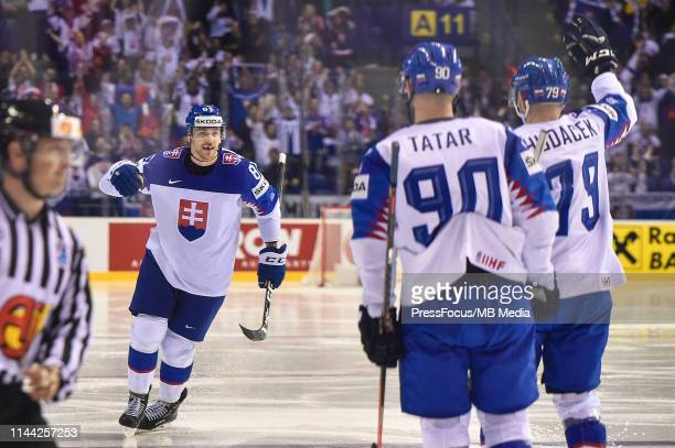 Erik Cernak of Slovakia celebrates scoring a goal during the 2019 IIHF Ice Hockey World Championship Slovakia group A game between France and...