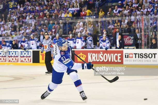 Erik Cernak of Slovakia takes a shot on goal during the 2019 IIHF Ice Hockey World Championship Slovakia group A game between France and Slovakia at...
