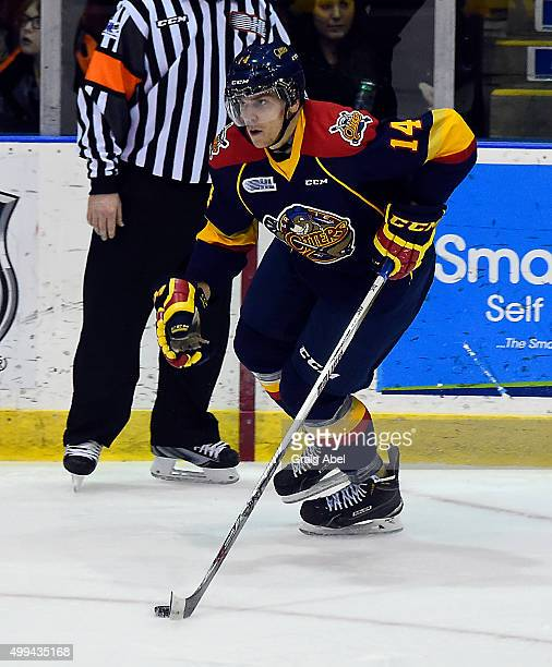 Erik Cernak of the Erie Otters controls the puck against the Mississauga Steelheads during OHL game action on November 27 2015 at the Hershey Centre...