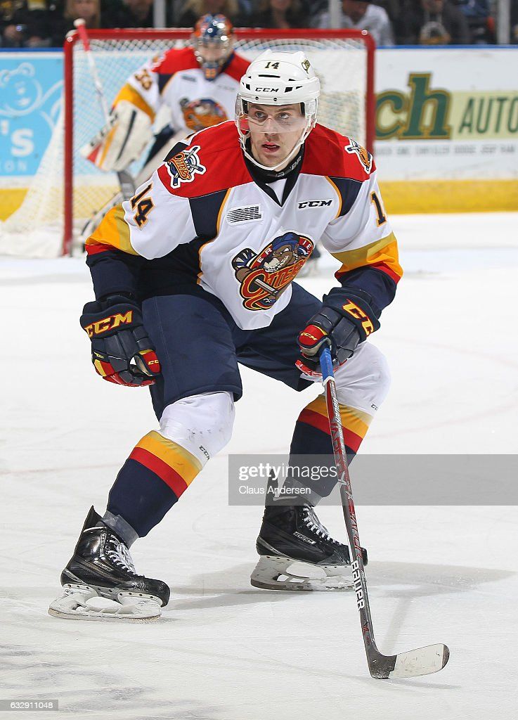 Erik Cernak #14 of the Erie Otters skates against the London Knights during an OHL game at Budweiser Gardens on January 27, 2017 in London, Ontario, Canada. The Otters defeated the Knight 5-3.