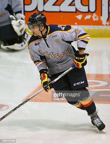 Erik Cernak of the Erie Otters skates in warmup prior to a game against the Mississauga Steelheads during OHL game action on November 27 2015 at the...