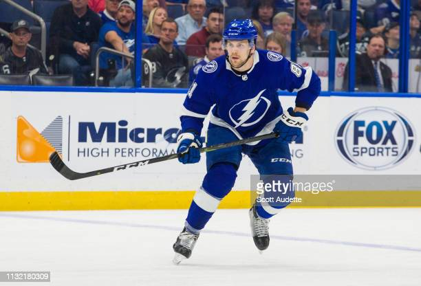 Erik Cernak of the Tampa Bay Lightning against the Los Angeles Kings during the first period at Amalie Arena on February 25 2019 in Tampa Florida nn