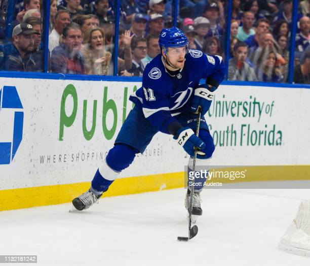Erik Cernak of the Tampa Bay Lightning against the Los Angeles Kings during the second period at Amalie Arena on February 25 2019 in Tampa Florida nn