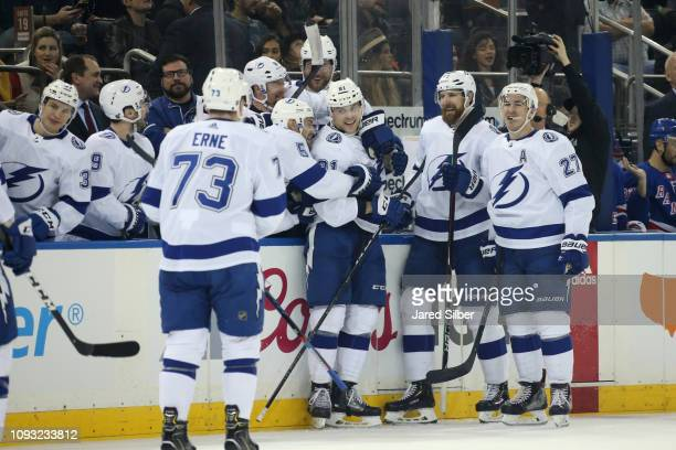 Erik Cernak of the Tampa Bay Lightning celebrates after scoring his first career NHL goal in the second period against the New York Rangers at...