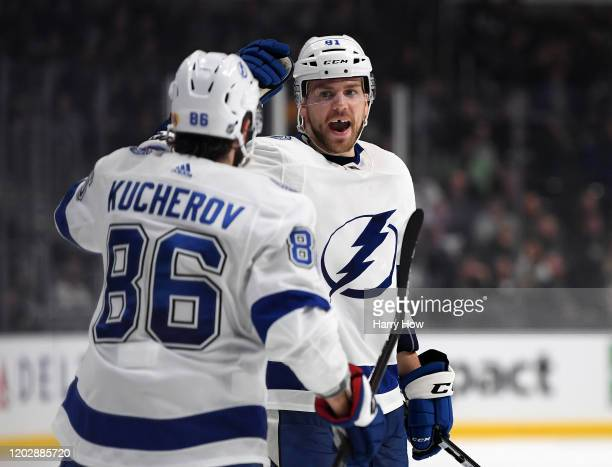 Erik Cernak of the Tampa Bay Lightning celebrates his goal with Nikita Kucherov for a 32 lead during a 42 Lightning win over the Los Angeles Kings at...