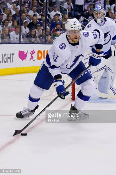 Erik Cernak of the Tampa Bay Lightning controls the puck in Game Four of the Eastern Conference First Round during the 2019 NHL Stanley Cup Playoffs...