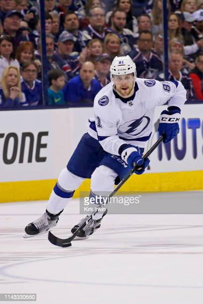 Erik Cernak of the Tampa Bay Lightning controls the puck in Game Three of the Eastern Conference First Round during the 2019 NHL Stanley Cup Playoffs...