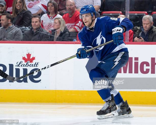 Erik Cernak of the Tampa Bay Lightning follows the play against the Detroit Red Wings during an NHL game at Little Caesars Arena on March 14 2019 in...
