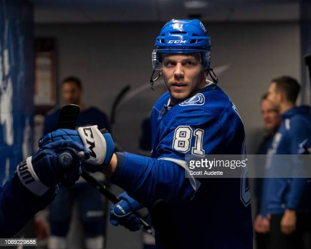 Erik Cernak of the Tampa Bay Lightning gets ready for the game against the Boston Bruins at Amalie Arena on December 6 2018 in Tampa Florida