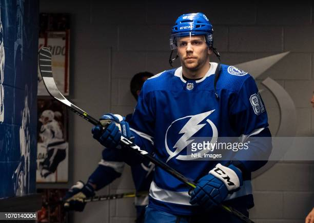 Erik Cernak of the Tampa Bay Lightning gets ready for the game against the Colorado Avalanche at Amalie Arena on December 8 2018 in Tampa Florida