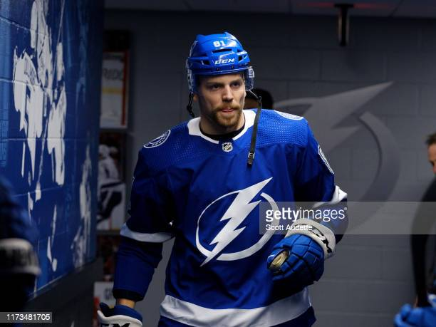Erik Cernak of the Tampa Bay Lightning gets ready for the game against the Florida Panthers during the first period at Amalie Arena on October 3 2019...