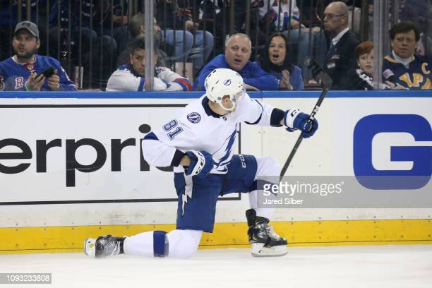 Erik Cernak of the Tampa Bay Lightning reacts after scoring his first career NHL goal in the second period against the New York Rangers at Madison...