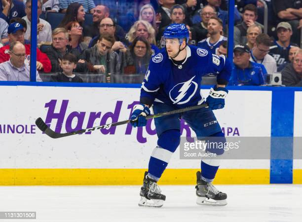 Erik Cernak of the Tampa Bay Lightning skates against the Buffalo Sabres in the third period at Amalie Arena on February 21 2019 in Tampa Florida nn