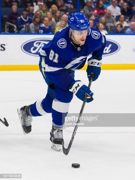 Erik Cernak of the Tampa Bay Lightning skates against the Chicago Blackhawks during the second period at Amalie Arena on November 23 2018 in Tampa...