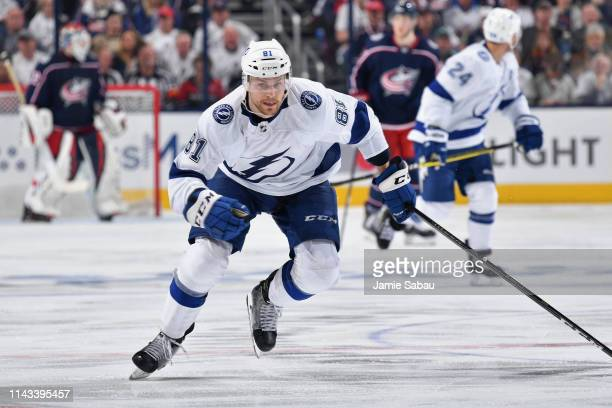 Erik Cernak of the Tampa Bay Lightning skates against the Columbus Blue Jackets in Game Four of the Eastern Conference First Round during the 2019...