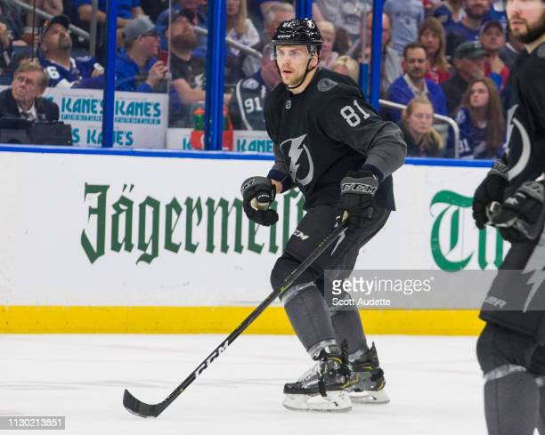Erik Cernak of the Tampa Bay Lightning skates against the Montreal Canadiens at Amalie Arena on February 16 2019 in Tampa Florida n