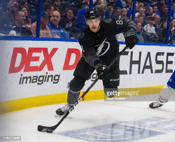 Erik Cernak of the Tampa Bay Lightning skates against the Montreal Canadiens in the second period at Amalie Arena on February 16 2019 in Tampa...