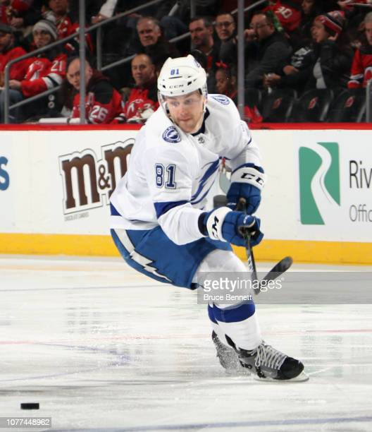 Erik Cernak of the Tampa Bay Lightning skates against the New Jersey Devils at the Prudential Center on December 03 2018 in Newark New Jersey The...