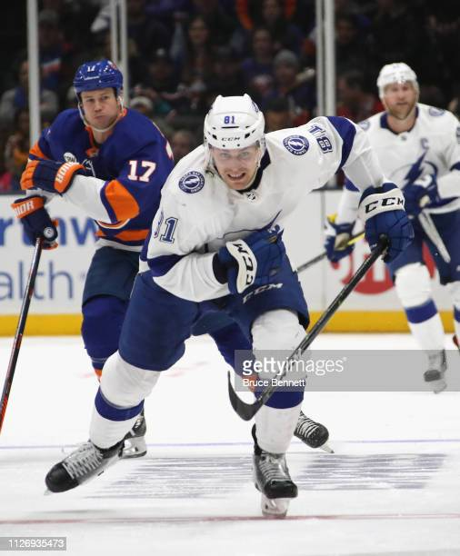 Erik Cernak of the Tampa Bay Lightning skates against the New York Islanders at NYCB Live's Nassau Coliseum on February 01 2019 in Uniondale New York...