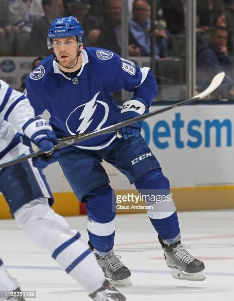Erik Cernak of the Tampa Bay Lightning skates against the Toronto Maple Leafs during an NHL game at Scotiabank Arena on March 11 2019 in Toronto...