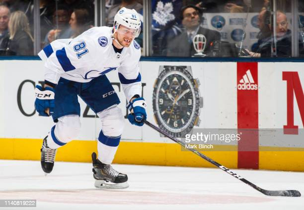 Erik Cernak of the Tampa Bay Lightning skates against the Toronto Maple Leafs during the first period at the Scotiabank Arena on April 4 2019 in...