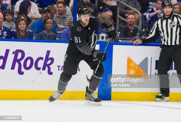 Erik Cernak of the Tampa Bay Lightning skates against the Washington Capitals during the first period at Amalie Arena on March 30 2019 in Tampa...