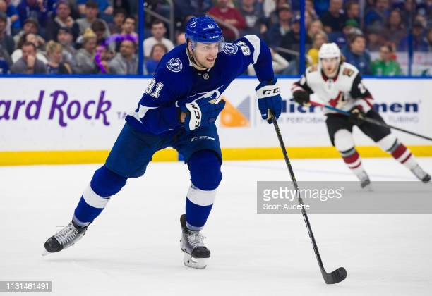 Erik Cernak of the Tampa Bay Lightning skates the Arizona Coyotes in the second period at Amalie Arena on March 18 2019 in Tampa Florida
