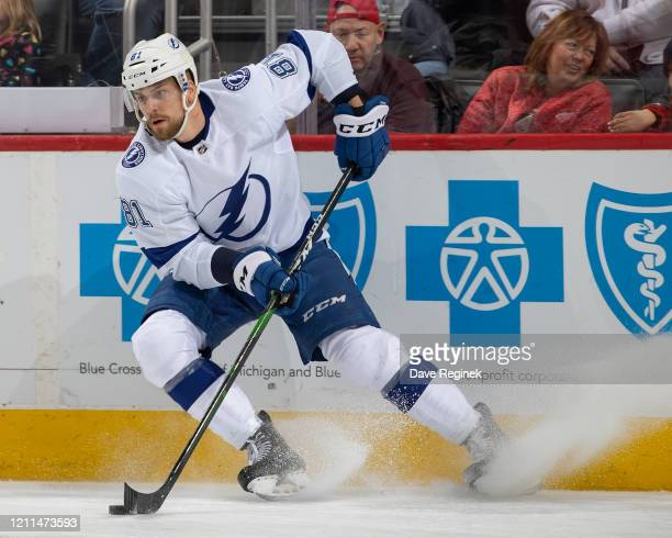 Erik Cernak of the Tampa Bay Lightning stops with the puck against the Detroit Red Wings during an NHL game at Little Caesars Arena on March 8, 2020...