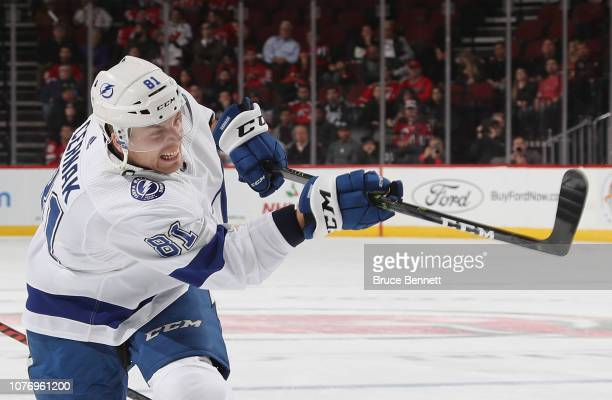 Erik Cernak of the Tampa Bay Lightning takes the first period slapshot against the New Jersey Devils at the Prudential Center on December 03 2018 in...