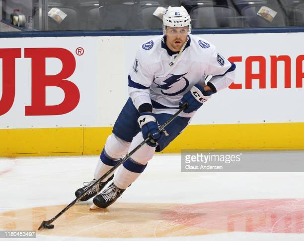 Erik Cernak of the Tampa Bay Lightning warms up prior to action against the Toronto Maple Leafs in an NHL game at Scotiabank Arena on October 10 2019...