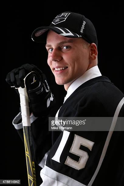 Erik Cernak poses for a portrait after being selected 43rd by the Los Angeles Kings during the 2015 NHL Draft at BBT Center on June 27 2015 in...