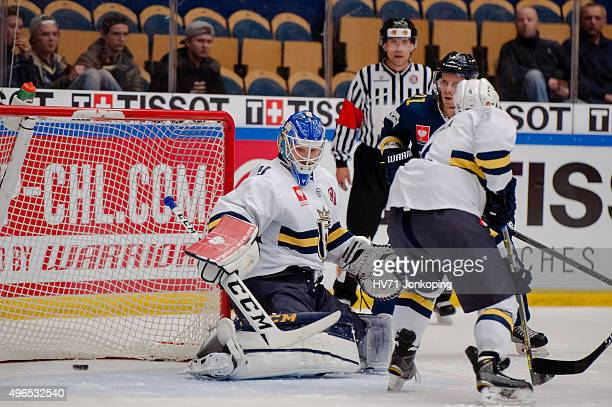 Erik Christensen of HV71 score during the Champions Hockey League round of eight game between HV71 Jonkoping and Espoo Blues on November 10, 2015 in...